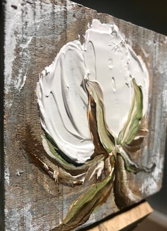 4×4, COTTON FARMHOUSE PAINTING, cotton, farmhouse decor, rustic decor, Cotton Decor, cotton boll decor, rustic painting, cotton field