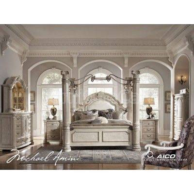 Queen Canopy Bedroom Sets On Monte Carlo Ii Canopy Poster Bedroom Set  Silver Pearl Aico Furniture
