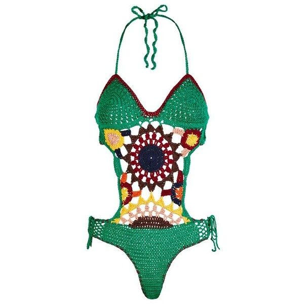 Tommy Hilfiger Multi-Coloured Crochet Swimsuit (3,620 ILS) ❤ liked on Polyvore featuring swimwear, one-piece swimsuits, crochet bathing suit, bathing suit swimwear, tommy hilfiger, swim costume and crochet swimwear