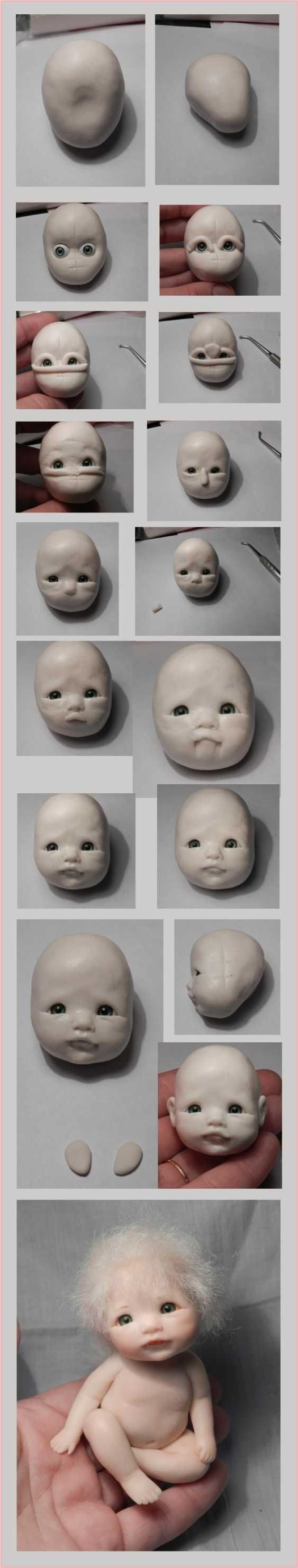 Polymer Clay Baby Face tutorial by Kharis