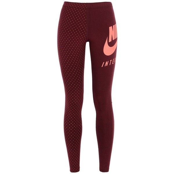 Nike Leggings ($40) ❤ liked on Polyvore featuring pants, leggings, maroon, dot leggings, maroon pants, polka dot leggings, cotton pants and cotton leggings
