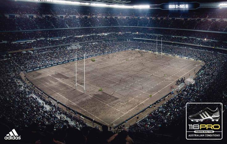 Adidas on Concrete Football Pitch