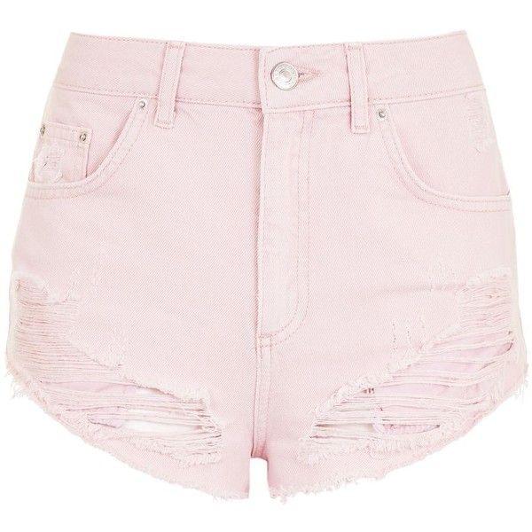 Topshop Moto Kiri Pink Mini Denim Shorts ($41) ❤ liked on Polyvore featuring shorts, pink, pink shorts, jean shorts, micro mini shorts, hot pants and denim shorts