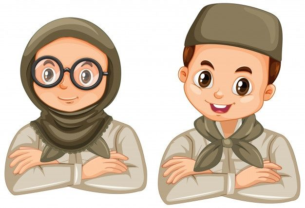 Download Boy And Girl In Scout Uniform On White For Free In 2020 Muslim Kids Scout Uniform Anime Muslim