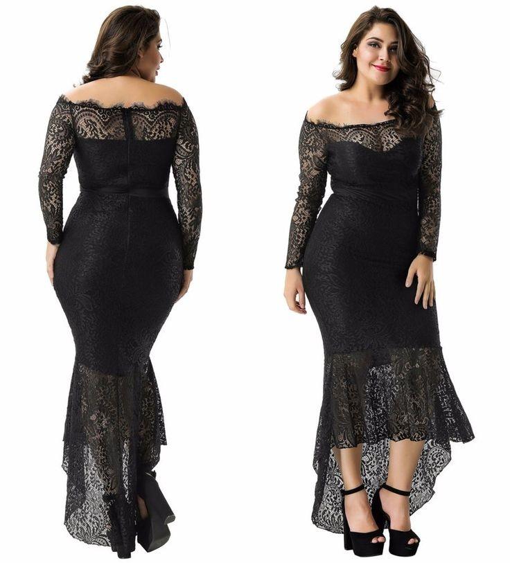 New Black Plus Size Elegant Midi Off Shoulder Frill Evening Wedding Formal Dress  | eBay