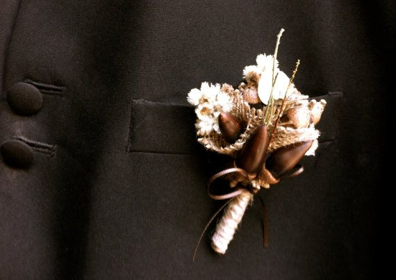 rustic wedding groom boutonniere lapel pin acorns fall forest wedding