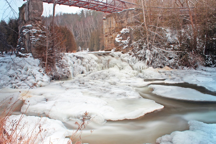 An icy waterfall at Forks of the Credit Provincial Park in Ontario, Canada.