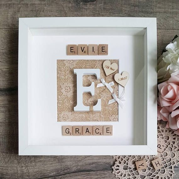 Personalised Baby Frame Girls Scrabble Name Frame New