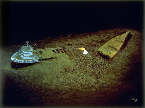 The S.S. Edmund Fitzgerald (729 ft)was lost with her entire crew of 29 men on Lake Superior on November 10, 1975.  She was enroute to a steel mill near Detroit with a full load of iron ore when she was caught in a northeaster and sunk in 530 feet of water, 17 miles north-northwest of Whitefish Point, Michigan.