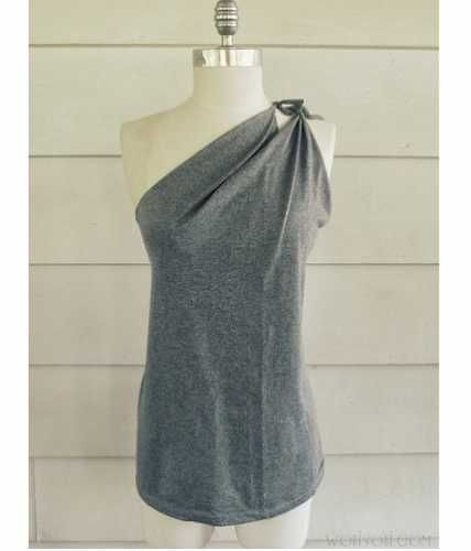 Tutorial: No-sew one shoulder t-shirt refashion