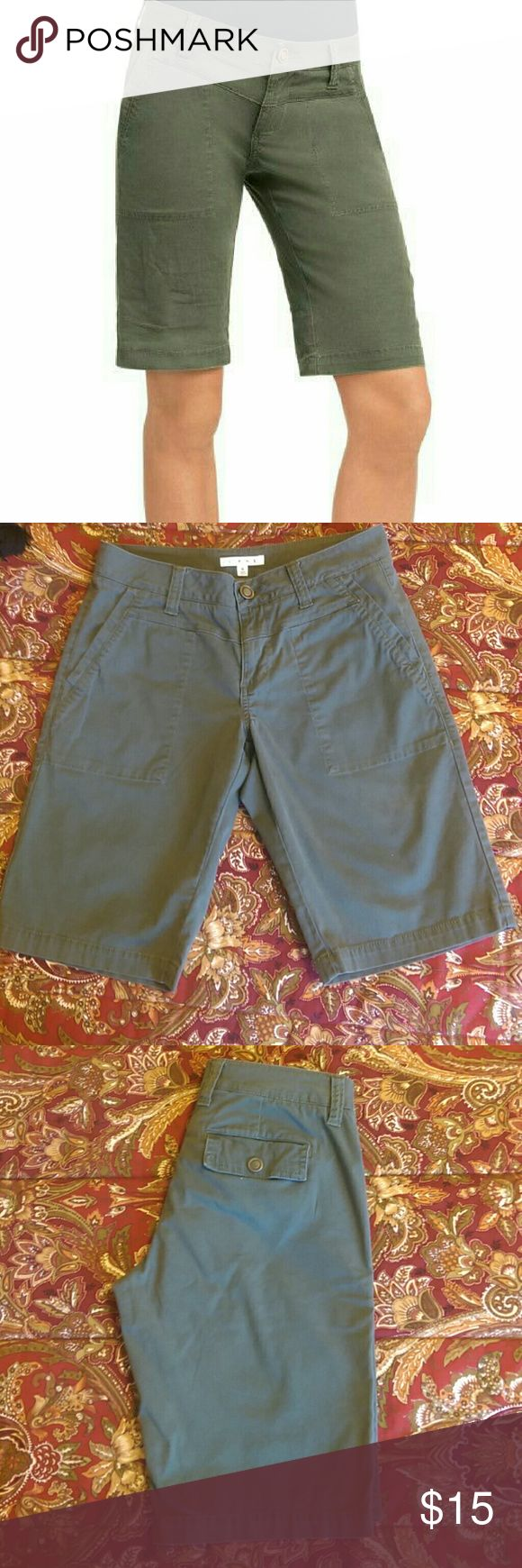 """CAbi  """"Ivy League"""" Army Green Shorts These are Bermuda walking shorts. Approx inseam length is 12"""". Great CAbi quality and fit! Style #816. CAbi Shorts Bermudas"""