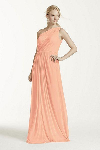 MORE COLORS Long Mesh Dress with One Shoulder Neckline Style F15928 In Store & Online $159.00  davidsbridal.com