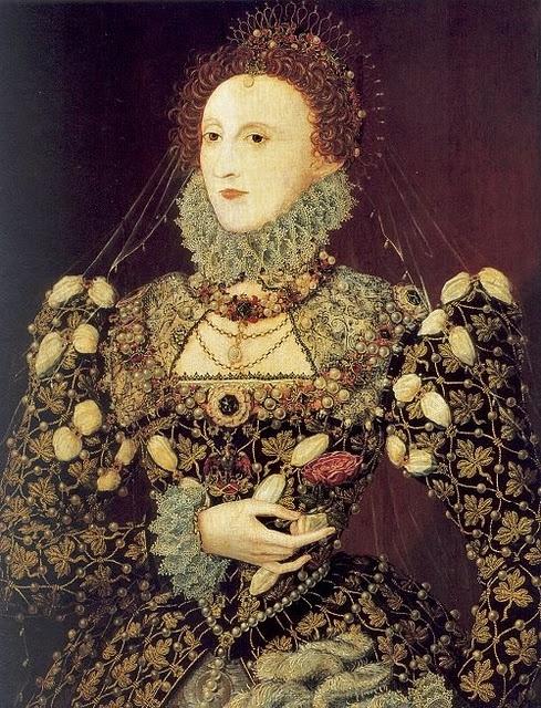 1575 Queen Elizabeth I 1533-1603 The Phoenix Portrait, attr to Nicholas Hilliard.
