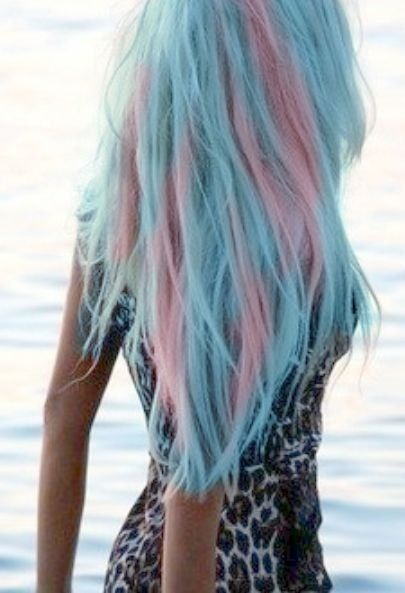 Pink and blue cotton candy hair look! #cool #pretty                                                                                                                                                      More