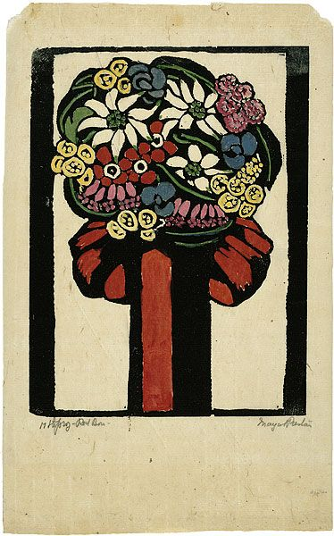 """Margaret Preston (1875–1963). """"Red bow,"""" 1925. Woodcut, printed in black ink, from one block; hand-coloured."""