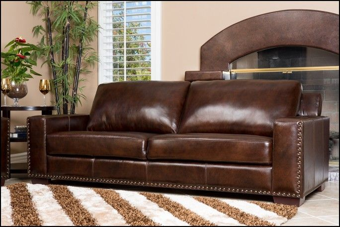 Pottery Barn Leather Sleeper sofa