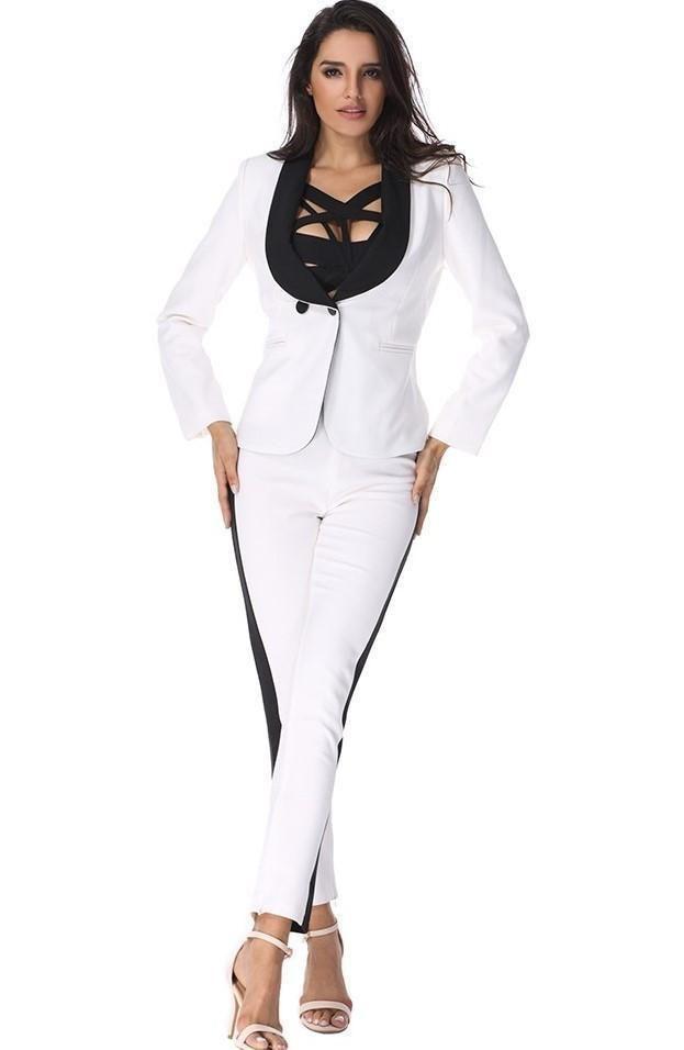 White Skinny Leg Pants Suit