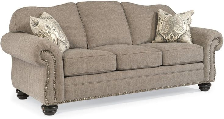 Flexsteel Living Room One-Tone Fabric Sofa With Nailhead Trim 8648-31 - Bacons Furniture - Port