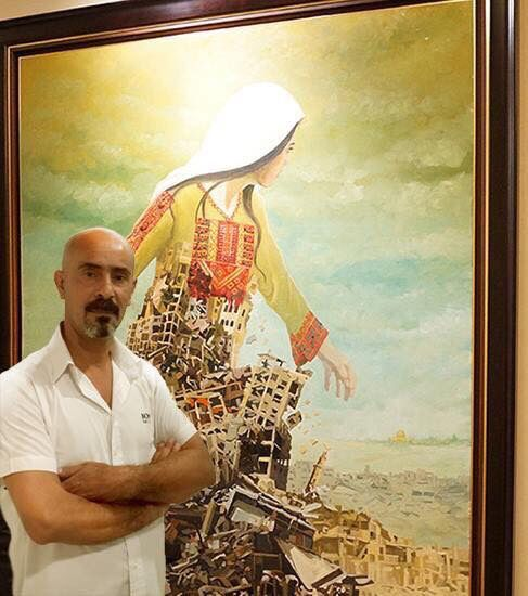 The amazing Palestinian artist Imad Abu Shtayyah by one of his fantastic paintings.