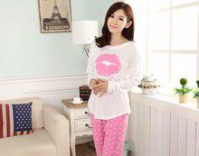 Promozione 2016 donne pajama set manica lunga o-collo casuale della signora del cotone degli indumenti da notte di autunno della molla labbra modello da notte 3 colori(China (Mainland))