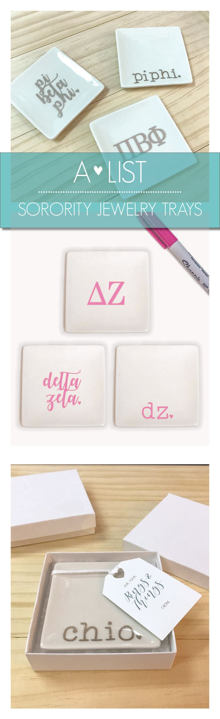 SET OF 3 Delta Zeta JEWELRY TRAYS Decorate your room with this adorable 3 piece set of 3″ x 3″ ceramic jewelry dishes. These simple white trays pop with your choice of color and our favorite sorority graphic designs. Use these for your jewelry, hair accessories, as a soap dish, as a dish for pins and clips on your desk, or a dish for any other trinkets you can think of!