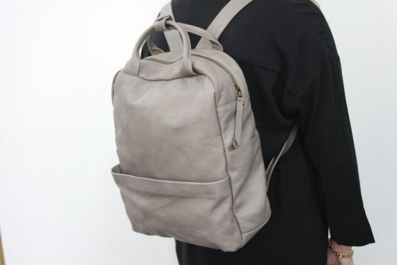 Light Grey Leather Backpack / Laptop Bag / by LadyBirdesign