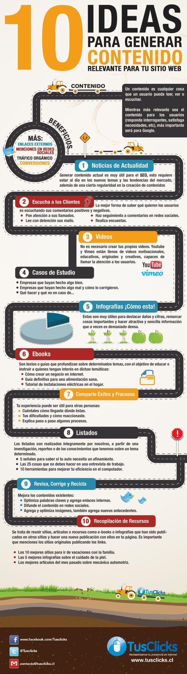 #Infografía: 10 Ideas para generar contenido relevante para tu web, ¡aplicable a blogs también!