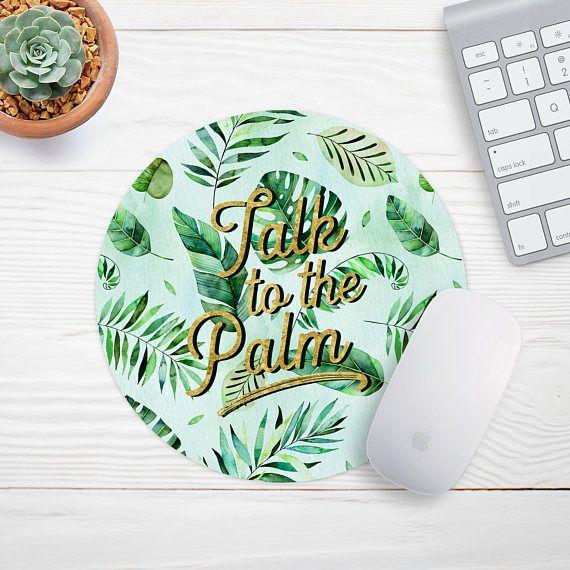 Tropical Mousepad, Palm Leaf Mouse Pad, Banana Leaf Mouse Pad, Cute Mousepad, Desk Accessories, Round Mousepad,  Cubicle Decor, Desk Decor