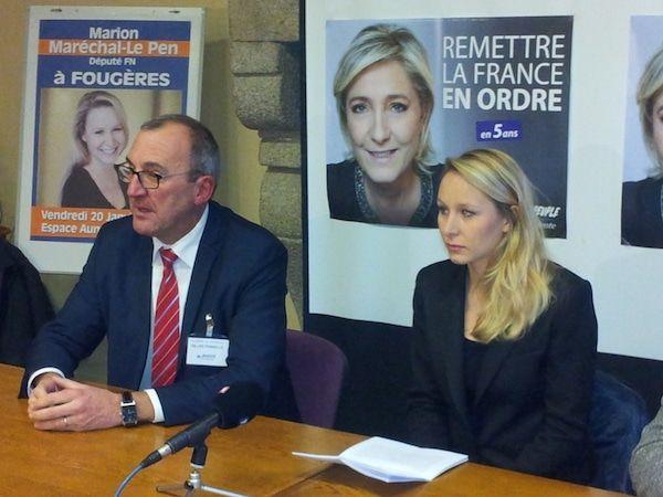 Salle comble vendredi dernier à Fougères (35) où Marion Maréchal–Le Pen  tenait un meeting.  Après Gilles Pennelle (président du groupe Front national au conseil régional de Bretagne et conseiller municipal de Fougères) et Gilles Lebreton (député européen de la circonscription ouest),
