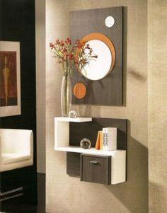 mueble-recibidor-en-tres-colores,-ceniza-blanco-y-naranja