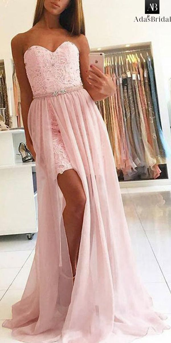 4bdfa28d56 Glamorous Lace   Chiffon Sweetheart Neckline 2 In 1 Prom Dress With  Beadings   Detachable Skirt