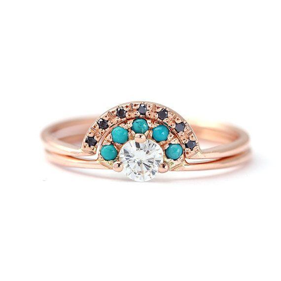 Wedding Set Diamond Engagement Ring With Turquoise Crown And A Black Diamonds Unique For The Non Traditional Bride