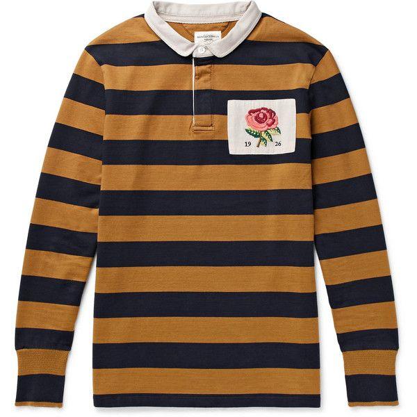 Kent Curwen Appliquéd Cotton-Jersey Polo Shirt ($150) ❤ liked on Polyvore featuring men's fashion, men's clothing, men's shirts, men's polos, mens striped shirt, mens navy blue shirt, faded glory men's polo shirts, mens embroidered shirts and mens polo shirts