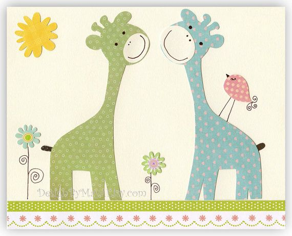 Nursery wall art, Kids Room Decor, Nursery Art, giraffe ..Giraffe Kiss