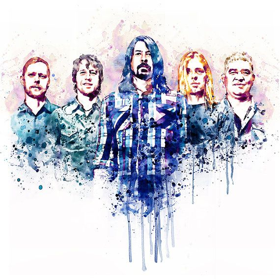Foo Fighters Watercolor painting Wall art Dave by Artsyndrome