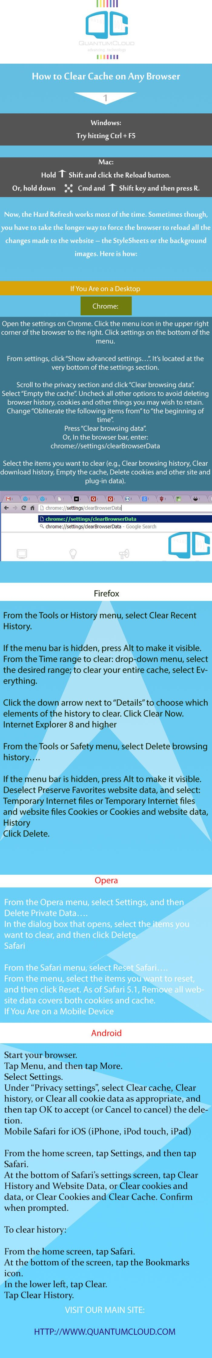 How to Clear Cache on Any Browser infographic. Please visit our main site:  http://www.quantumcloud.com/