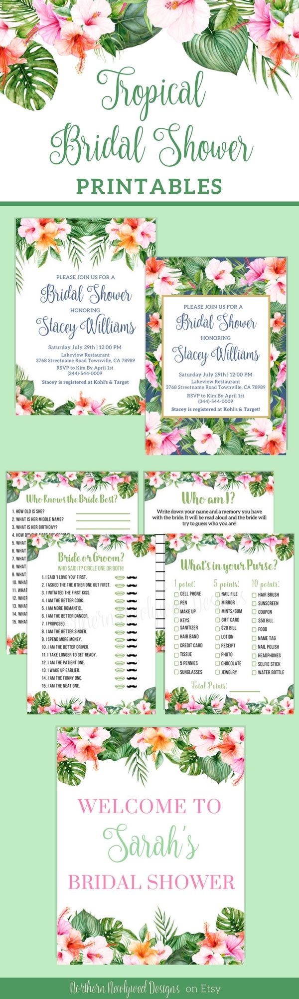 Tropical Bridal Shower Printables! Tropical Bridal Shower Games / Tropical Bridal Shower Invitations / Tropical Bridal Shower Decor. NorthernNewlywed on Etsy!