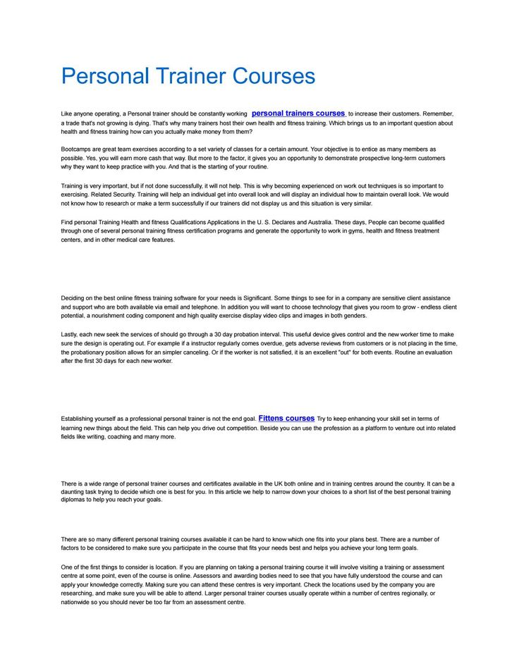 Personal trainer courses Trainers, Studying and Training certificate - medical fitness certificate
