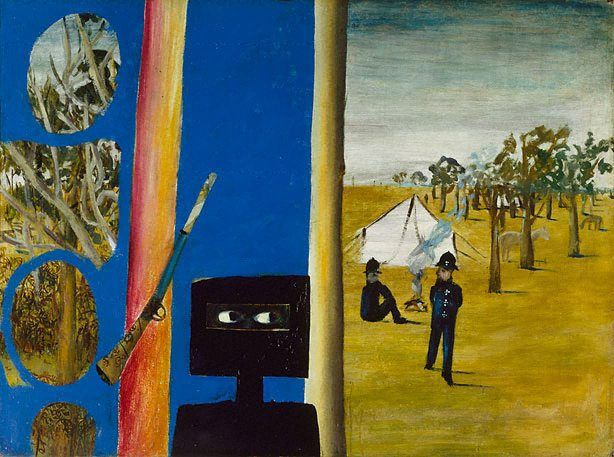 Ned Kelly Series:  Sidney Nolan (Australia, England 22 Apr 1917–28 Nov 1992)  The camp   (1946)  Painting Materials used Ripolin enamel on hardboard