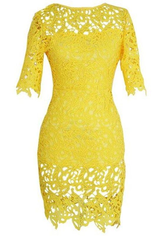 Yellow Plain Hollow-out Zipper Dress - Midi Dresses - Dresses