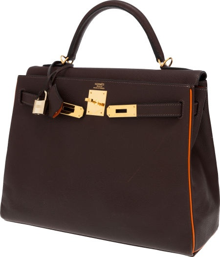 Hermes Special Order 32cm Two-Tone Chocolate & Orange H EpsomLeather Retourne Kelly Bag with Gold Hardware. - Just showing this special order bag as it reminds me so much of an Hermes ribbon; obviously ordered by an Hermes aficionada/o.