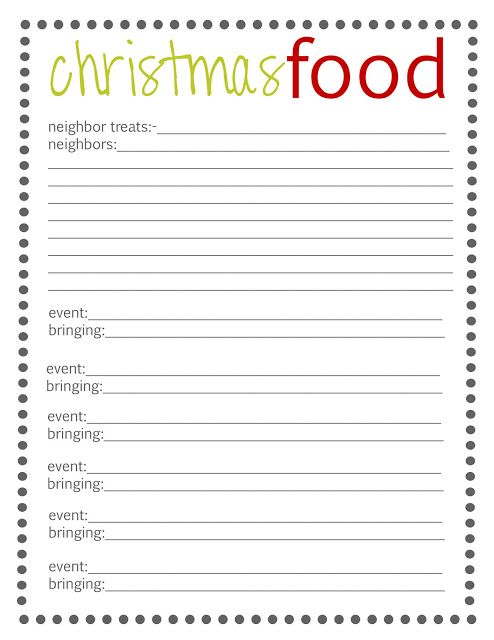 29 best Christmas Planner images on Pinterest Xmas, La la la and - food sign up sheet template