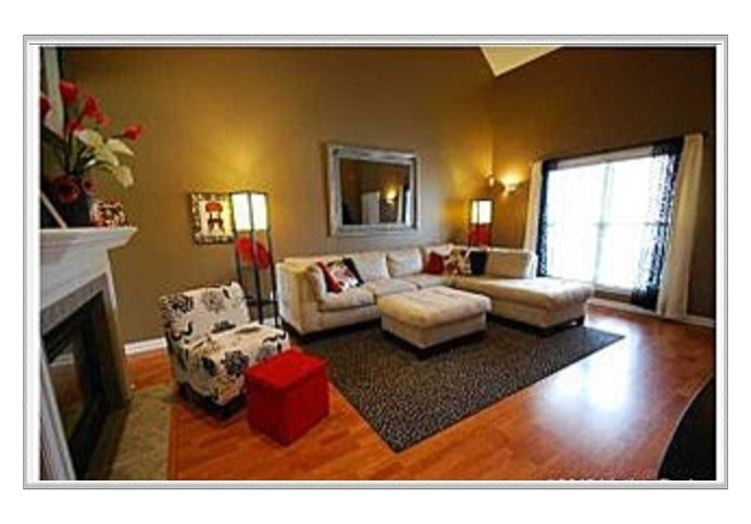 Brown red white black grey and tan palette living room living room great room Black white gray and red living room