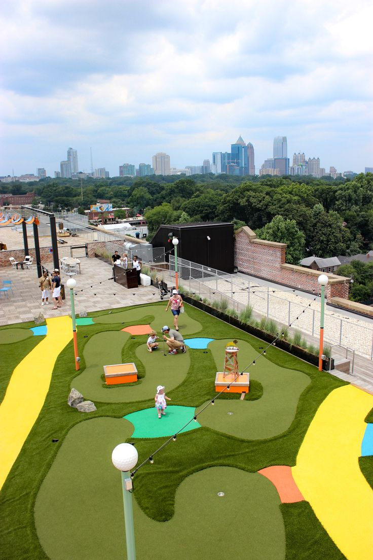 Things to do in Atlanta: Skyline Park at Ponce City Market. The best rooftop views and putt putt in town!
