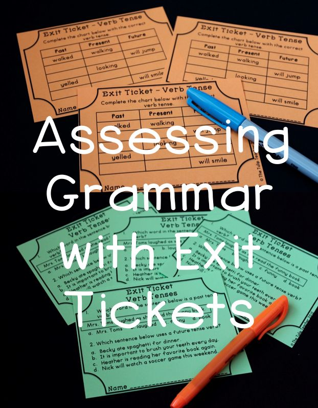Grammar Exit Tickets for quick grammar assessments. Great to sort and then plan writing or literacy small groups! Covers all common core language arts standards. Exit tickets for nouns, verbs, pronouns, adjectives, adverbs, and more.