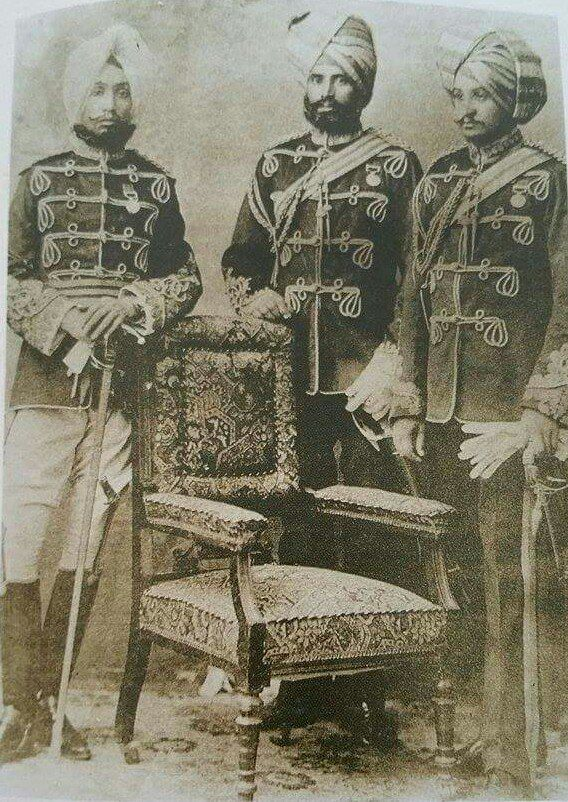 imla 1899 - H.H.Maharaja Rajinder Singh, Col. Chanda Singh Dhillon , Col. Sewa Singh after having been awarded the medal and bar of the Tirah campaign by Lord Curzon ,the Governor General of India.photo coutesy - Sukhmanee Dhillon Mangat (Great grand daughter of Gen.Chanda Singh Dhillon)By Rohit Sonkiya