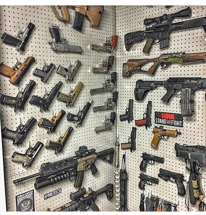 ( @gunsdaily post) GUN WALL #gunwall #762 #556 #handgun #1911 #deagle #scope #revolver #glock #hk #9mm #45 #rifle #shotgun #20gauge #AR15 #M4 #AK47 #magazine #clipazine by michigan_guns