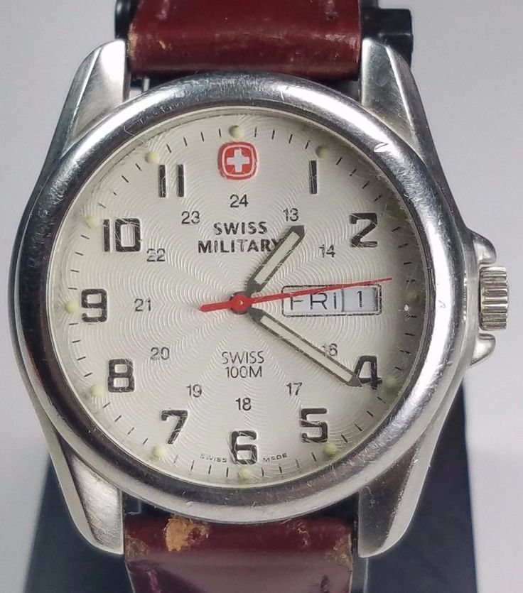 Swiss Military by Wenger Watch 096.1009 WR 100M Swiss Made Speidel Leather Band…