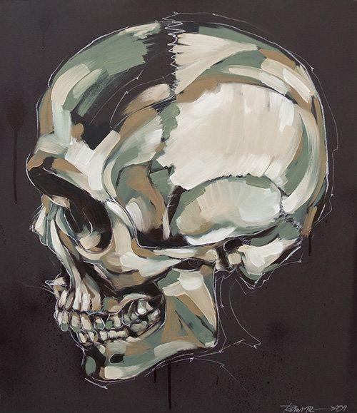 """A piece of """"Memento"""" triptyc by Emanuele """"Rems182"""" Ronco. Oil on canvas, 70 x 100 cm."""