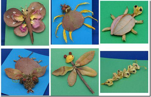 Figuras de animales con hojas de los arboles